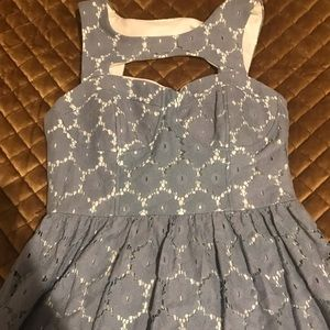 Blue lace dress with white underlining